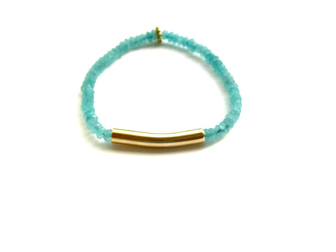 Rio Gold Bar Bracelet in Turquoise