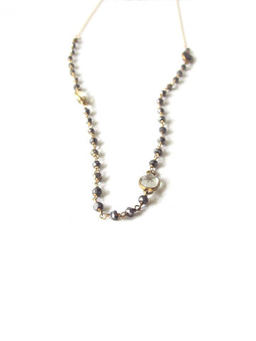 Crystal Quartz Gemstone Pyrite Chain Layer Necklace