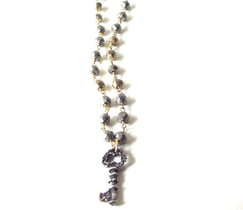 Key Charm Pyrite Chain Necklace