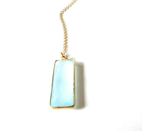 Chalcedony Rectangle Bar Necklace