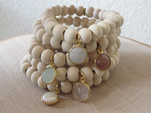Light Wood Gemstone Bracelets