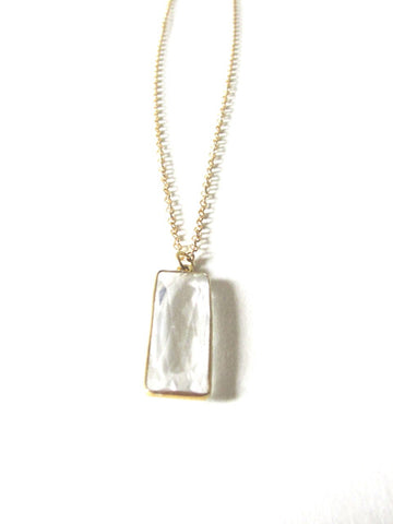Chalcedony Rectangle Necklace