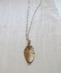 Mix Metal Drop Leaf Necklace