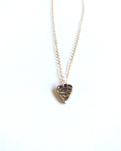 Mix Metal Hammered Heart Charm Necklace