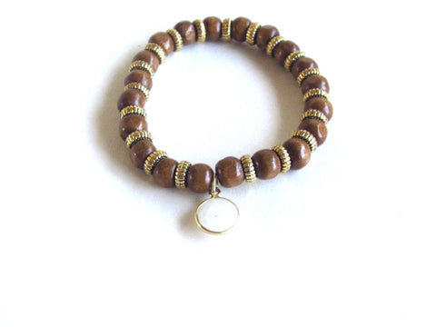 Tan Wood Gemstone Bracelet in Opal