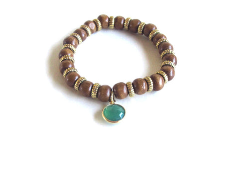 Tan Wood Gemstone Bracelet in Green Agate