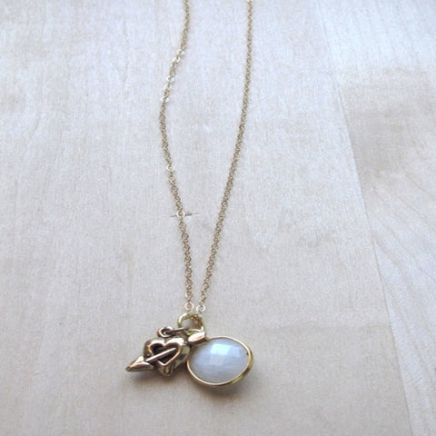 Heart And Arrow Moonstone Necklace