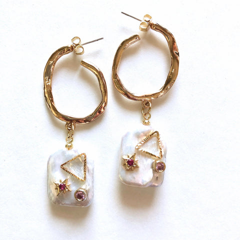 Pearl Drop Gem Earring