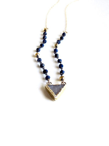 Lapis and Pyrite Chain Druzy Necklace