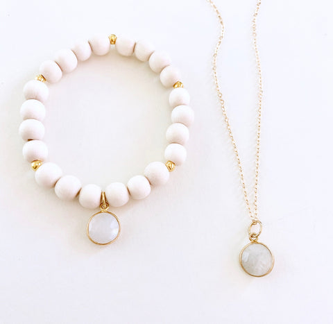 Moonstone Necklace and Bracelet Set