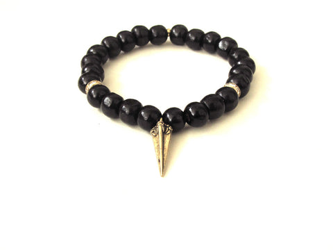 Black Wood Spike Bracelet