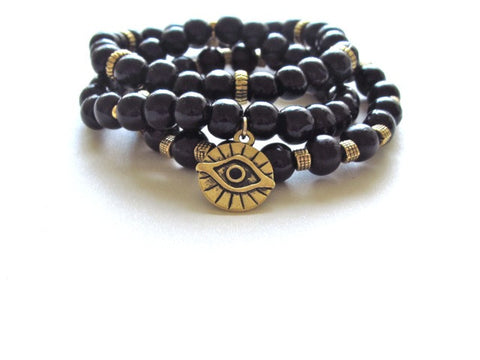 Black Wood Evil Eye Stack