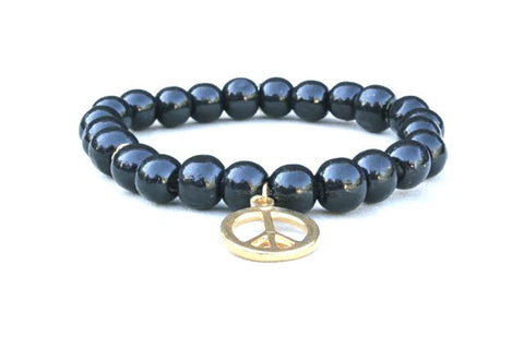 Black Wood Peace Charm Bracelet