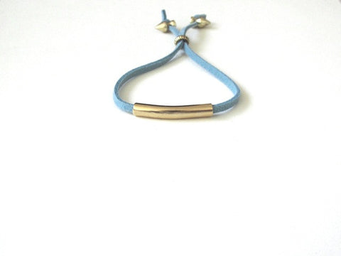 Teal Suede Gold Bar Bracelet