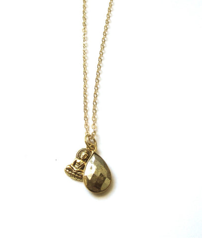 Pyrite Buddha Charm Necklace