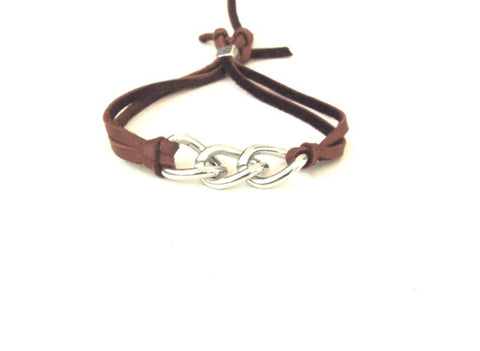 Luxe Leather Link Bracelet in Silver