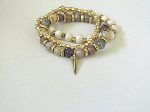 Light Wood Jasper Spike Stack