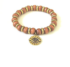 Tan Wood Evil Eye Bracelet