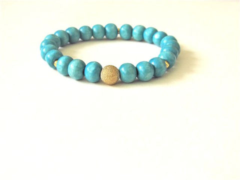 Neon Blue Wood Gold Dust Bracelet
