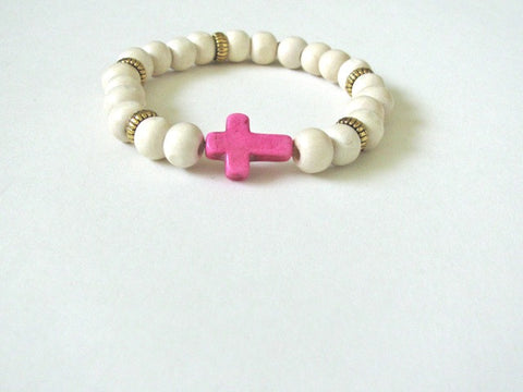Light Wood Pink Cross Bracelet