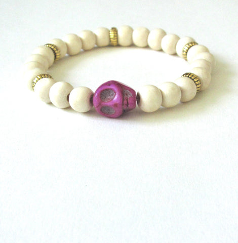 Light Wood Purple Fiesta Skull Bracelet