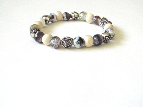 Light Wood Vintage Rose Jasper Bracelet
