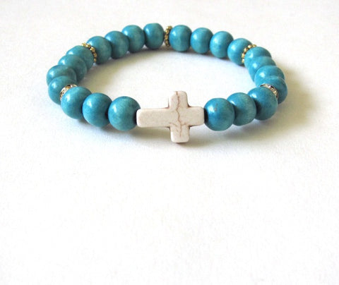 Neon Blue Wood Cross Bracelet