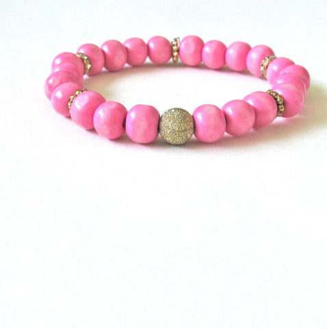 Neon Pink Wood Gold Dust Bracelet