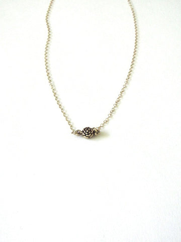 Tiny Vintage Rose Charm Necklace