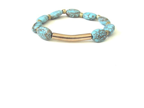 Oval Turquoise Gold Bar Bracelet