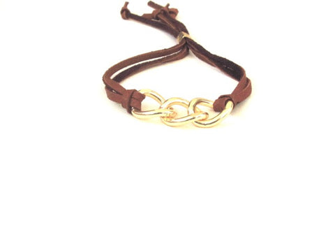 Luxe Leather Link Bracelet in Gold