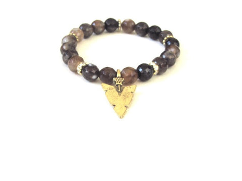 Brown Agate Arrowhead Bracelet