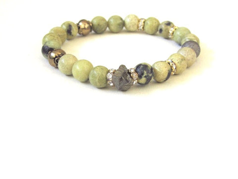 Green Rhodonite Pyrite Bracelet