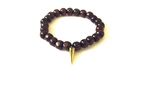 Mahogany Wood Men's Spike Bracelet