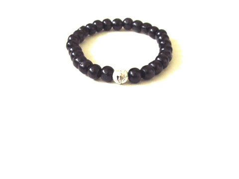 Black Wood Jasper Men's Bracelet