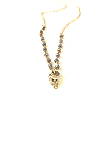 Pyrite Rosary Chain Skull Necklace