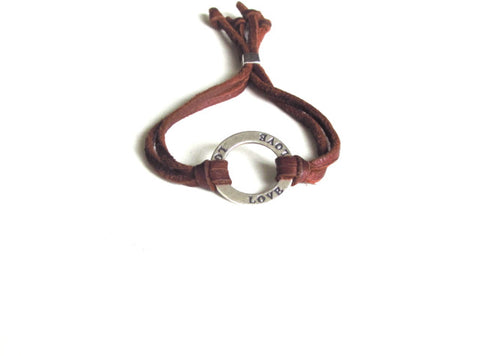 Leather Love Bracelet in Silver