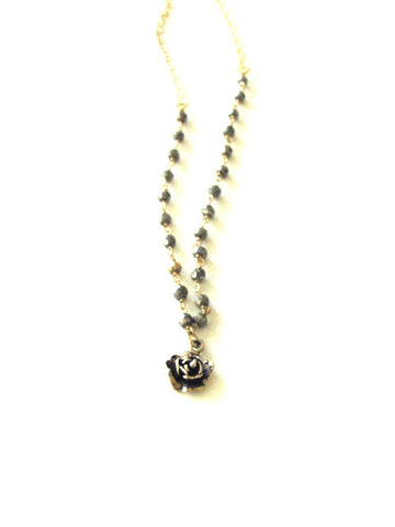 Pyrite Rosary Chain Vintage Rose Necklace