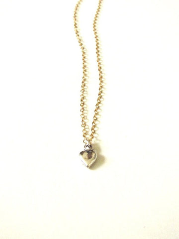 Tiny Heart Necklace in Mix Metal