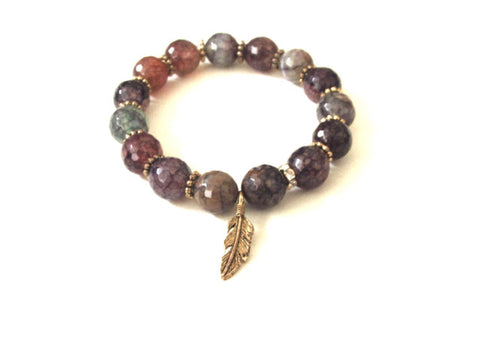 Tye Dye Agate Feather Bracelet