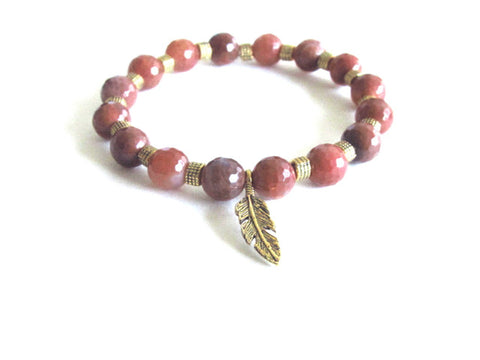Agate Feather Charm Bracelet