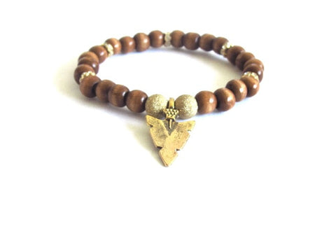 Tan Wood Arrowhead Bracelet