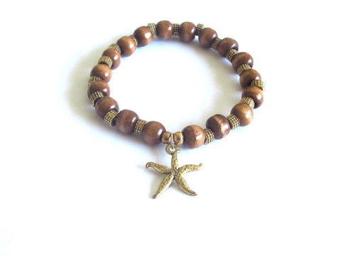 Tan Wood Starfish Charm Bracelet