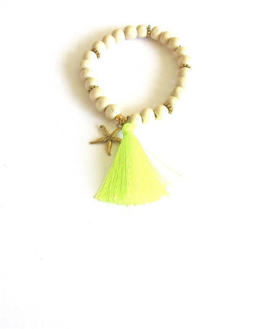 Light Wood Starfish Tassel Bracelet