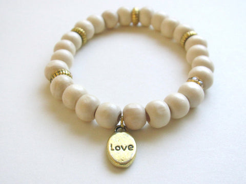 Light Wood Love Charm Bracelet