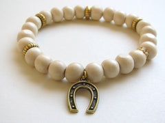 Light Wood Horse Shoe Charm Bracelet