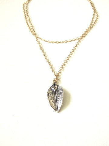 Mix Metal Leaf Necklace