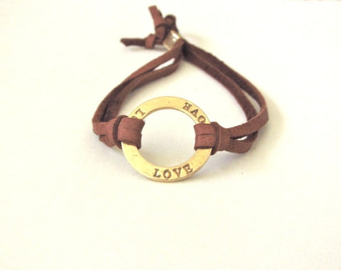 Leather Love Bracelet in Gold