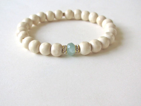Light Wood Mint Jade Bracelet