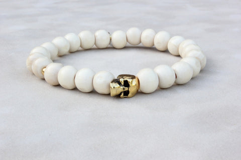 Light Wood Skull Charm Bracelet